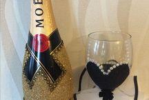glittered prom/Wedding glasses / glittered glasses