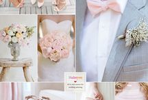 grey pink wedding