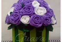 pot bunga flanel