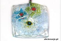 Fusing / Zawieszki szklane wykonane metodą fusingu. Rękodzieło.