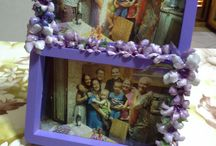 lavori realizzati con decoupage e sospeso trasparente / Sono oggetti decorati con pitture, ritagli, fiori realizzati con il sospeso trasparente