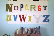 Decorating w/ Letters, Words, Numbers / Decorating with letters, words and numbers. From art to pillows to furniture, this 'back to the basics' decorating style is the perfect way to add a little childhood whimsy to your decor.