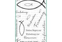 Stilvolle Firmung / Stempel zur Konfirmation bzw Kommunion, Fisch und deutsche Textstempel, Die Worte Gottes Segen, Einladung, Firmung, Kommunion, Konfirmation, Einladung und Glückwunsch sind in diesem Set berücksichtigt