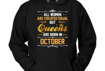 Queens Are Born In October Birthday T Shirt Gift