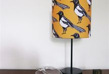 Mischievous Magpie / Whether it's brightening up a boring hall way or adding a ping to the corner of your lounge our Mischievous Magpie Lampshade with its strong english mustard background will make a bold style statement in any room. #magpie #interior #lampshade #coaster