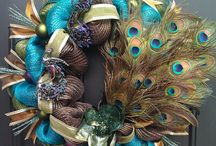 Peacock Mardi Gras  wreath