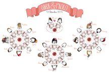 Tableau de mariage personalizzati / Tableau de mariage con le mie illustrazioni Tableau de mariage with my illustrations