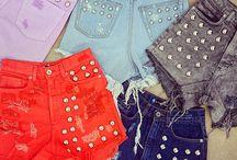 Hot Pants / Vintage destroyed jeans, rock denim shorts.