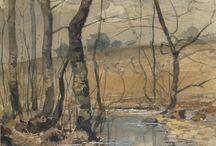 Watercolor landscape / spring