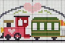 Grilles point de croix Voitures et les trains