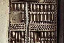 Carved Wooden Dogon Door