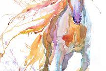 Konie akwarela