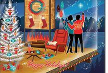 Christmas couple fireplace