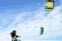 Snowboard Kiting!