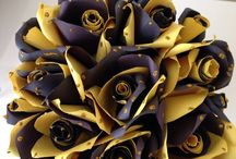 AFL Richmond tiger paper flowers roses with pot by Medita1craft