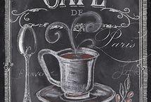 Kaffe te kjøkken sjokolade vintage. / Gamle reklamer for kaffe te og kakao. Fine kjøkkenting.