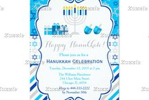 Happy Hanukkah Star Light Blue and Silver / This collection features a Hanukkah Menorah, gifts and dreidels. The background consists of stars of david on a light blue background, stripes and a blue and silver star ribbon.