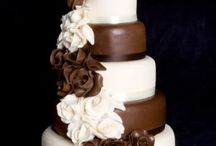 Brown & cream wedding cakes