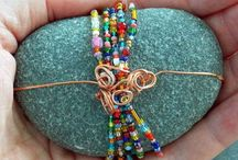 Wire & bead wrapped rocks