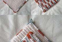 Crochet potholders and dishcloths