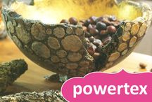 Powertex / Powertex is an environmentally friendly textile hardener, usable in addition on all porous surfaces, such as paper, cardboard, leather etc. For decorations, statues, jewellery, painting and numerous other things