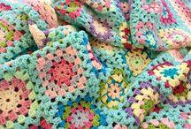 Granny square blanket. Colours.