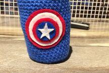 Captain America drink cozy / Crochet captain America drink cozy