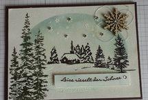 Weihnachtskarten / Christmas Cards / Weihnachtskarten vorzugsweise kreiert mit Papier , Stempel und Stempelfarben von Stanpin´Up! #stampinup