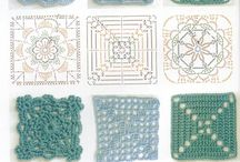 various crocheted squares