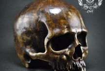 Hand Carved Human Skull Jawless Realistic from Wood  With Antique Finish
