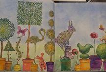 My colouring Johanna Basford & Millie Marotta / Secret Garden & Lost Ocean & Tropical Wonderland Books