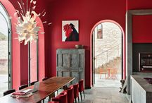 Red Interiors - Interior Prediction 2018 / Red interior design, red trend, red interior design trend, red wall, red paint, red wallpaper, red furniture, red furnishings, red accessories, red chair, red cushion.