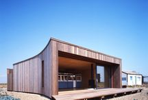 El Ray, Dungeness / The beach house comprised a timber superstructure supported on a ground-bearing reinforced concrete raft. The timber roof and walls comprised plywood decking and sheathing fixed to STEICO timber I joists and I studs.   Winner of Winner of World Architecture News International House of The Year 2008 and  RIBA Winner 2009.