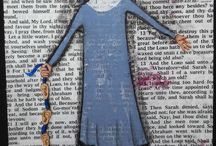 Art painted on bible pages and Nuns / I love nuns and I love painting on book pages, including bible pages.