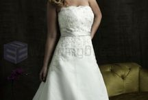 Chapel Train Wedding Dresses /  Ball Gown Organza Ruched Bodice Softly Curved Neckline Chapel Length Train Wedding Dresses  / by eweddingdress