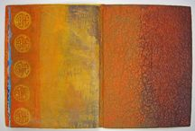 CAWeStruck: Handmade Books / I seem to have a need to construct a book before I can paint, stitch and collage into it. Because I love abstract work, pattern, texture, and figures, they are what populate the pages of my books.