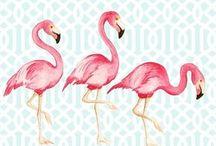 flamingo watercolor print