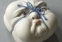 Ceramic sculpture busts