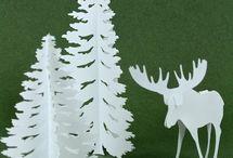 Sapins et rennes en papier