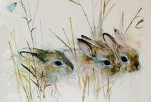 Watercolor rabbits
