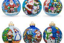 Glass Ball Santa Christmas Ornaments / Shop unique hand painted glass ball Santa Claus Christmas ornaments from http://www.BestPysanky.com / by BestPysanky Inc