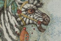 Cheryl Bridgart's animals embroidered / My animals are created from life drawings or my dream drawings-I don't copy photos. Only thread stitching on blank canvas.
