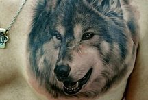 tattoo wolf chest for men