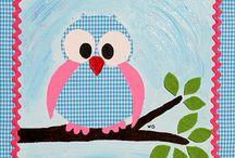 Julijn | Dieren / Julijn maakt kinderkamerkunst van dieren. Allemaal geschilderd op stof, of met stof gemaakt. afgewerkt met een mooi lint, vilt of een bloemetje. En te koop op www.julijn.nl