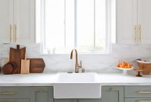 Trending: Two-Toned Kitchen Cabinets / Keep upper cabinets white or neutral for a clean, timeless feel, then go crazy with the lower cabinets by playing with various wood tones and deeper colors to take your kitchen in two different style directions.