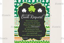 Shamrock Green and Orange St Patricks Baby Shower / This collection features a green and white shamrock on a chalkboard frame. The background consists of white shamrocks on green, green and orange stripes and a green and orange polka dot ribbon.