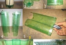 Bottle recycle & reuse / using bottles to build things such as walls, planters, lights