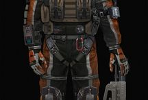 Futuristic space suits, space rockets, Vehicles and equipment