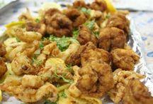 Shrimp, scallops, calamari