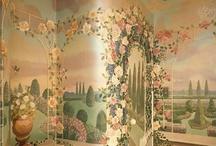 Romantic trompe l'oeil Powder Room